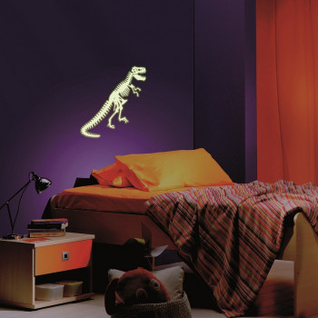 Sticker squelette dinosaure phosphorescent
